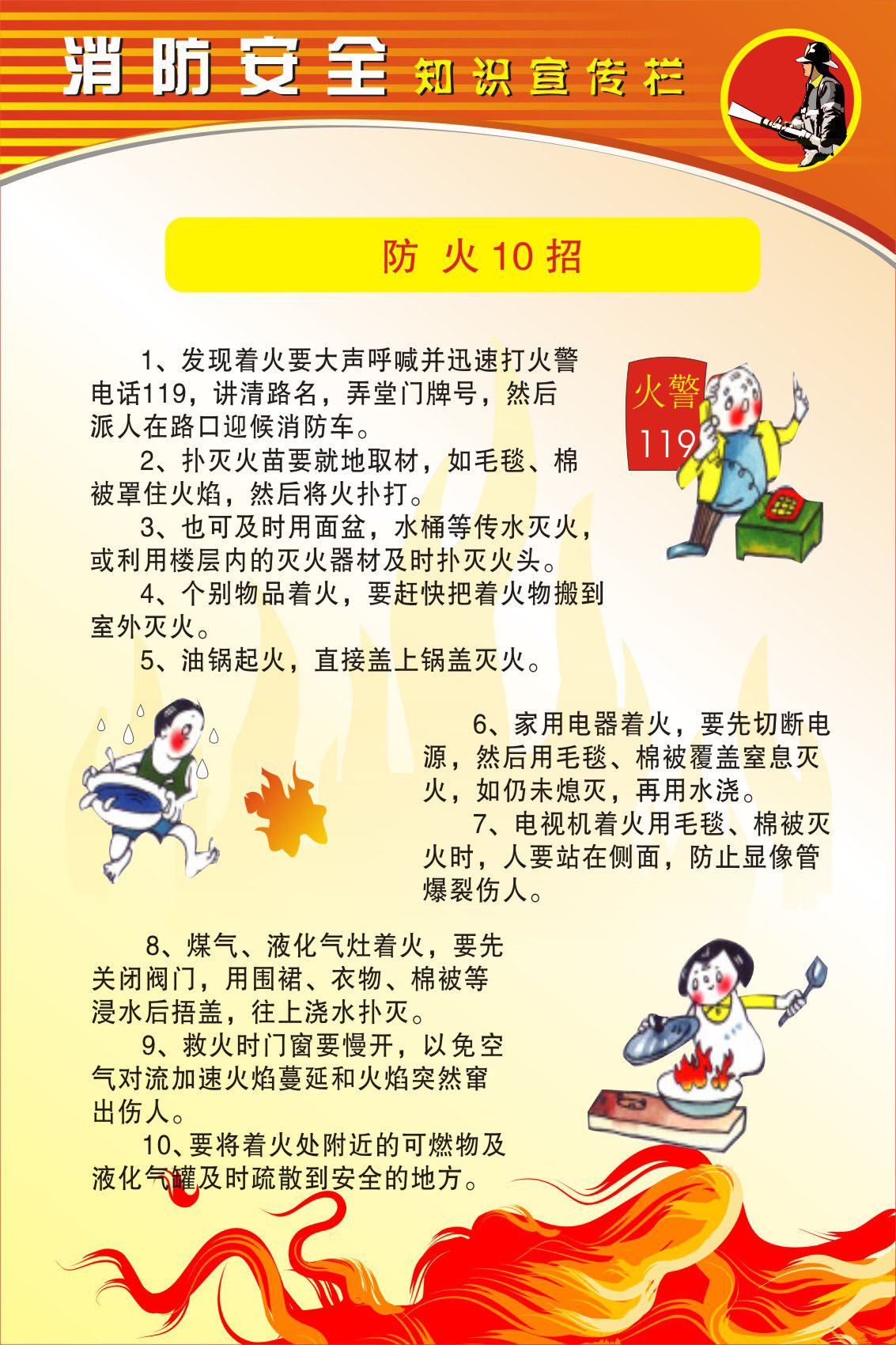733 poster panels inkjet sticker printing 957 fire safety knowledge map (3) 6 fire 10 strokes