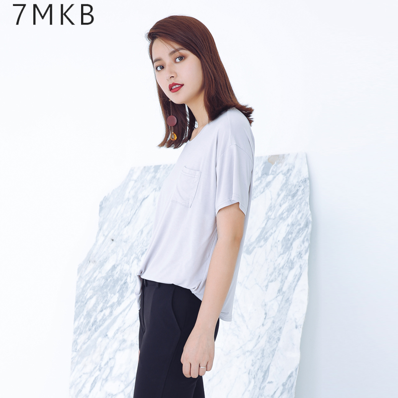7MKB 2016 summer new loose round neck t-shirt female korean version of the simple pocket was thin short sleeve shirt bottoming