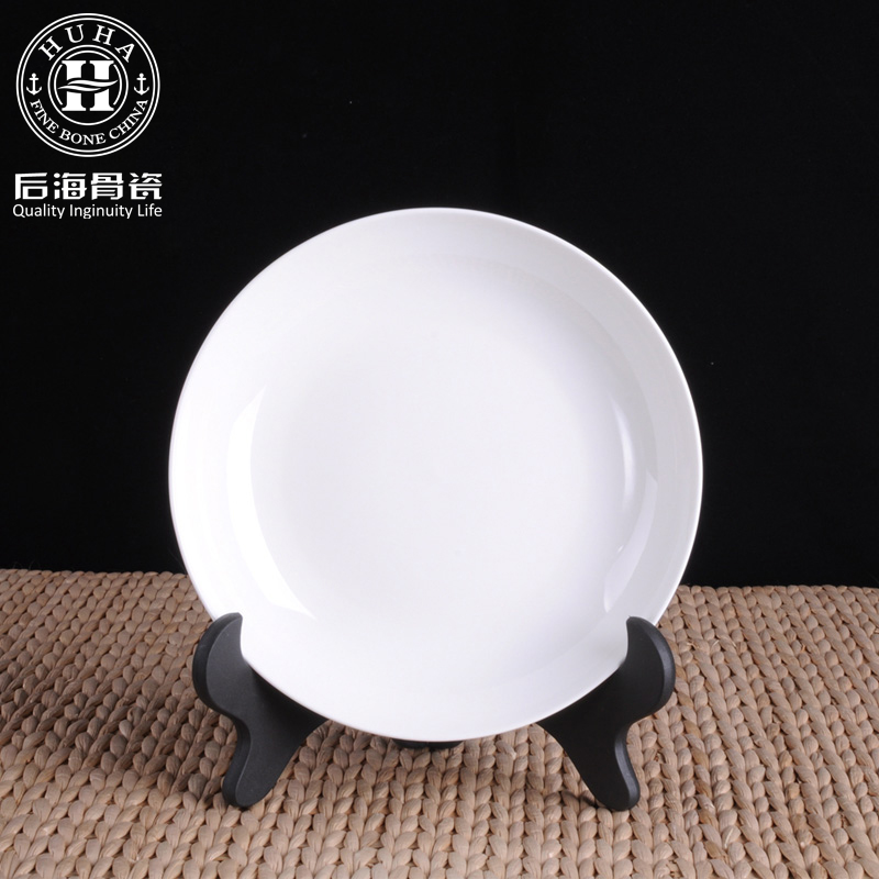 8 free shipping houhai unleaded tangshan white bone china dish 8 inch flat plate deep dish soup plate rice dish fruit plate