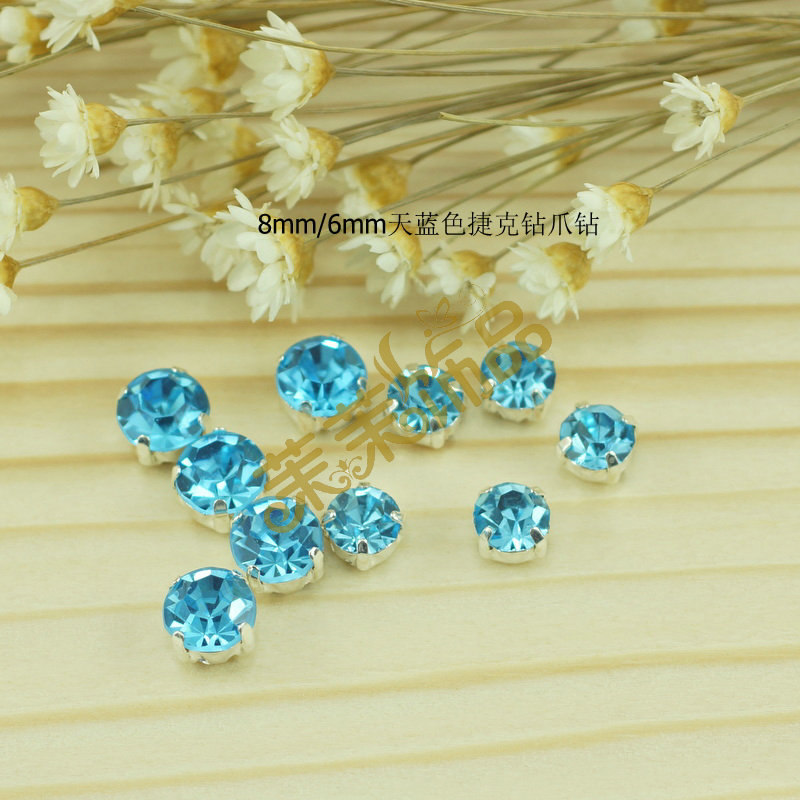 8mm/6mm blue imported czech diamond drill claw diamond drill sew diy drill material diy hair accessories