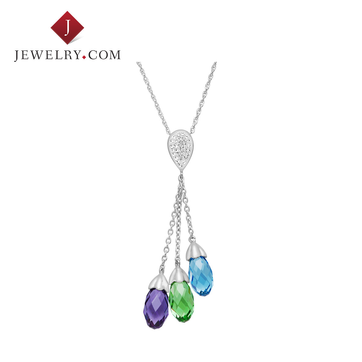 925 silver multicolor crystaluxe exquisite swarovski crystal pendant tassel elegant jewelry