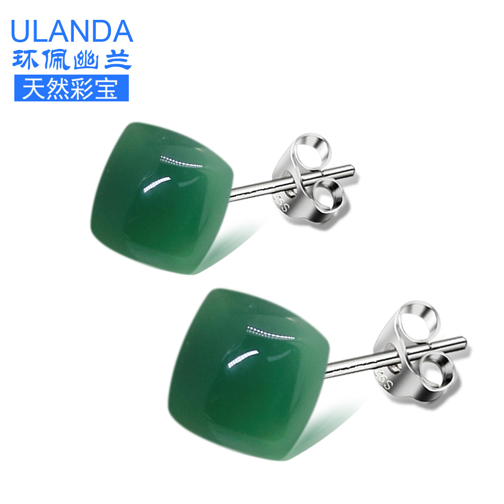 925 silver natural green chalcedony earrings for men and women crystal earrings hypoallergenic earring studs earrings silver jewelry gifts