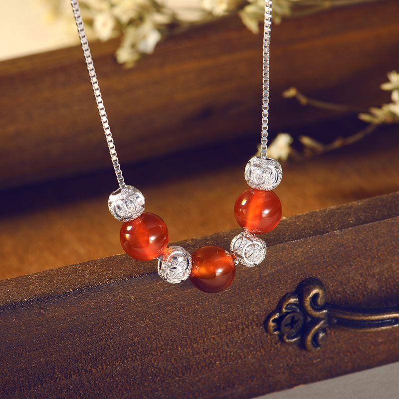 925 silver necklace female transfer beads pendant female clavicle chain necklace korean version of the simple sweet beautiful silver jewelry with jewelry