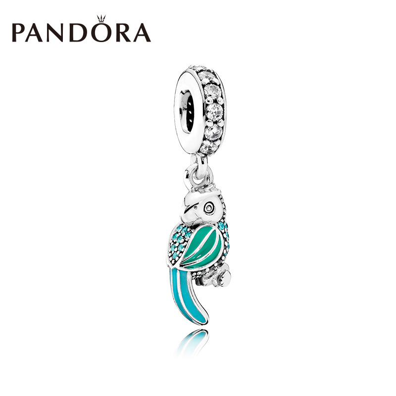 925 silver pandora pandora tropical parrot tropical green and blue green enamel 791903 enmx string decoration