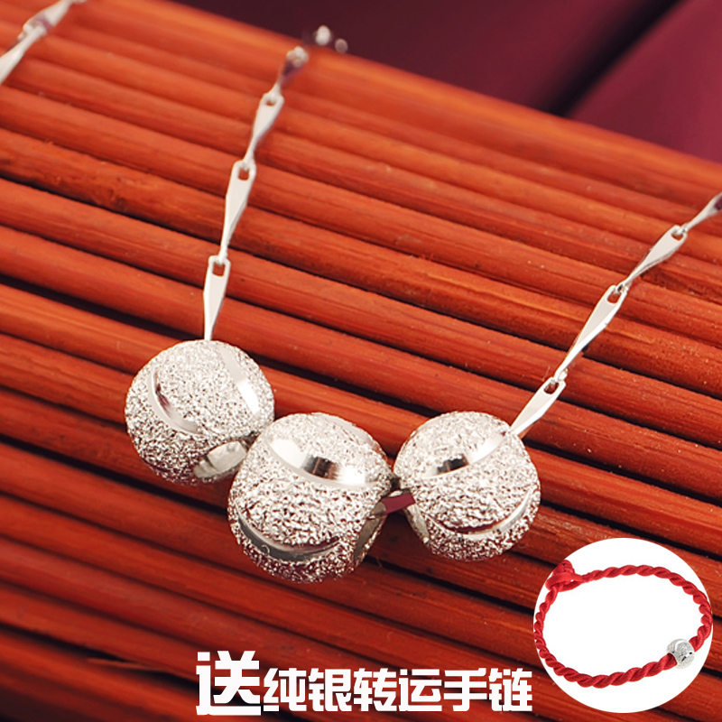 925 silver three beads transfer beads s925 silver necklace clavicle chain sweater chain long section of female silver jewelry pendants