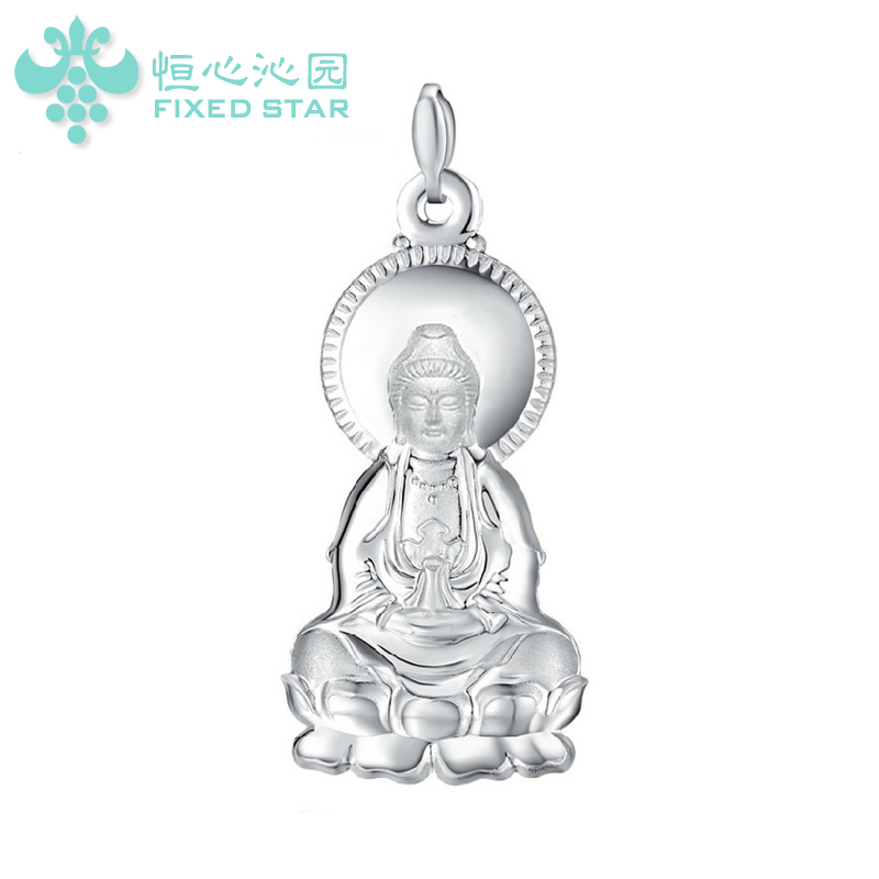 999 fine silver sterling silver pendant necklace goddess of mercy guanyin buddha pendant pendant eternal peace buddhist religious silverware