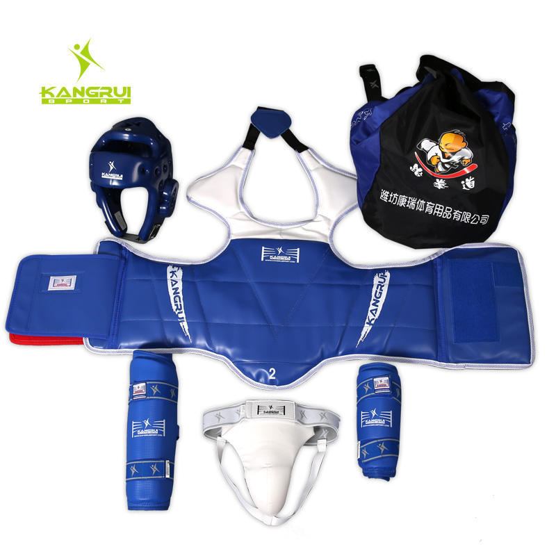 A full set of protective gear taekwondo wujiantao adult children sanda jockstrap chest protector shin protector elbow kit package delivery