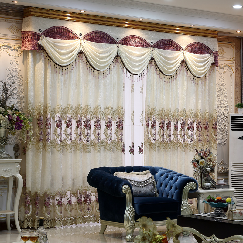 A m custom modern european flannel living room bedroom den screens floating gauze curtains curtain embroidered curtains finished screens