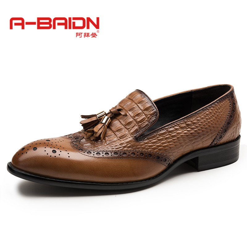 Abaidn/o autumn and winter men's fashion flow biden pointed sets foot leather men's business dress shoes 116