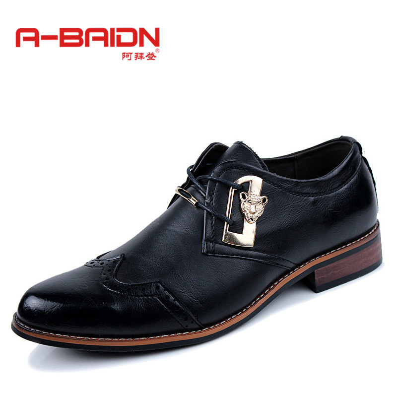 Abaidn/o biden autumn paragraph british fashion men's breathable casual men pointed shoes wedding shoes 827
