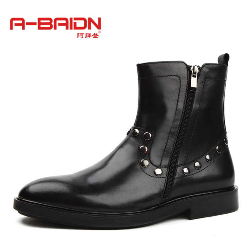 Abaidn/o biden new autumn and winter men's leather boots martin boots thick crust of england increased casual shoes 9