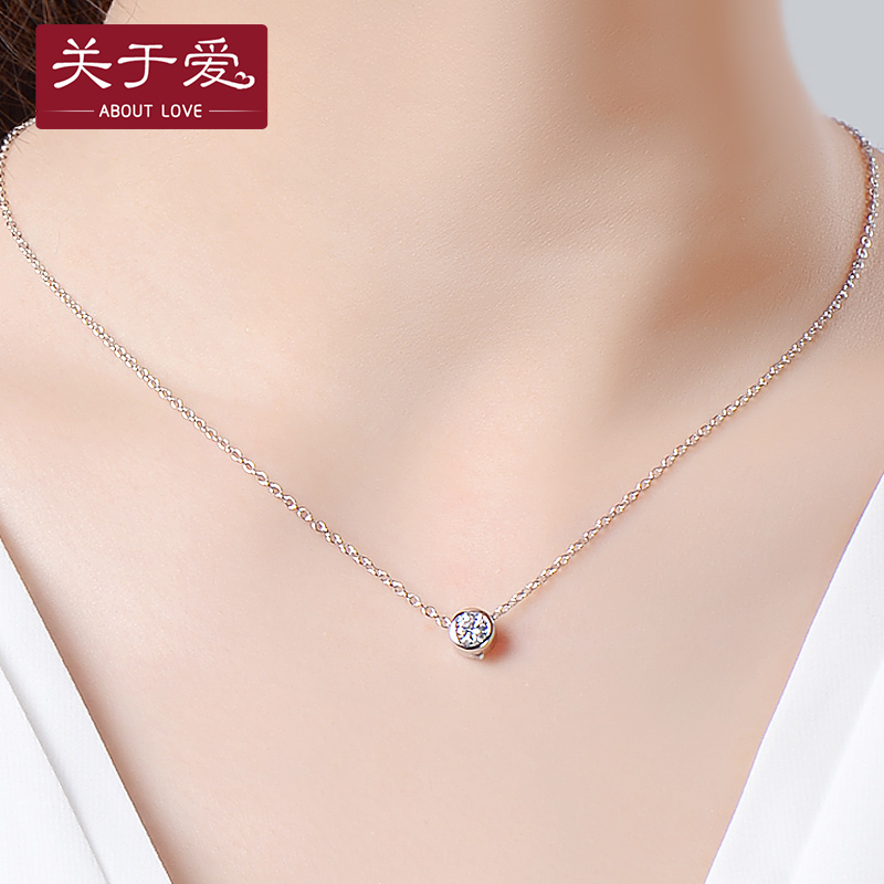 About love 925 silver necklace female love korean fashion silver pendant short paragraph clavicle chain necklace female silver jewelry