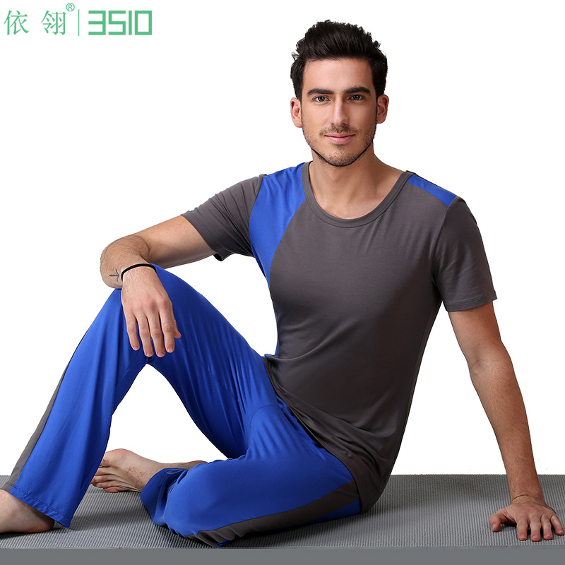 According to ling spell color straight men's yoga clothes suit yoga clothes aerobics clothes suit trousers sportswear short sleeve