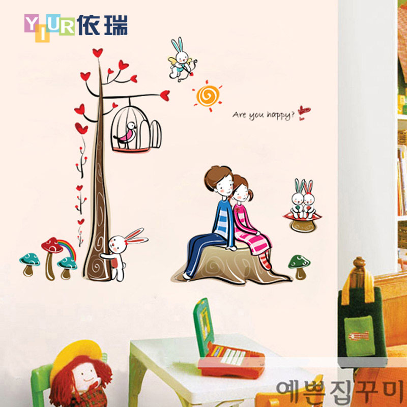 According to swiss love cartoon boys and girls room wall stickers living room bedroom nursery decoration stickers wall stickers can be removed