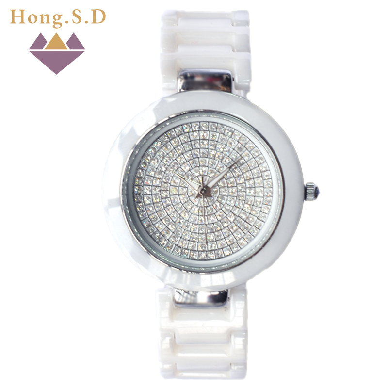 Acer matter of white ceramic diamond ladies watch full diamond ladies watch waterproof watch female student fashion watch quartz watch fashion