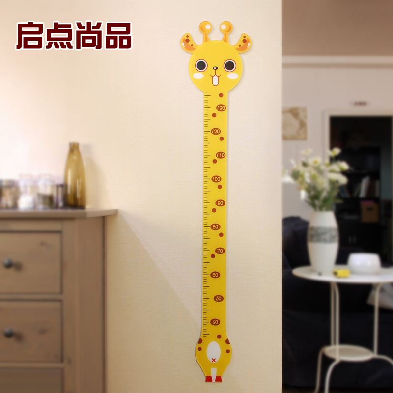 Acrylic dimensional wall stickers baby measuring height feet tall giraffe cartoon children's room bedroom nursery wall