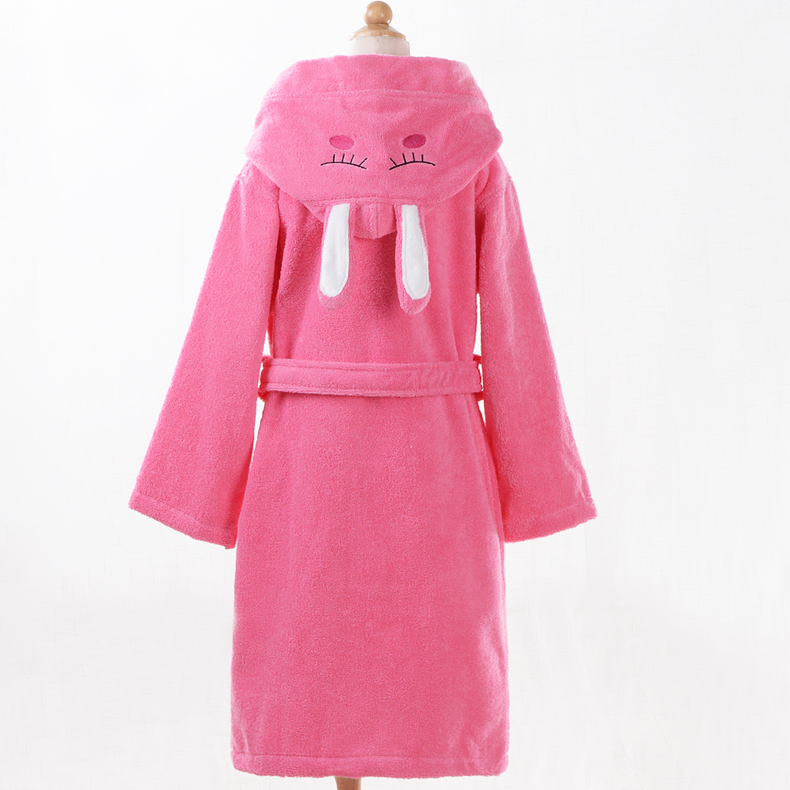 Adolescent children combed cotton autumn and winter thick toweling bathrobe bathrobe boys and girls thick absorbent bath