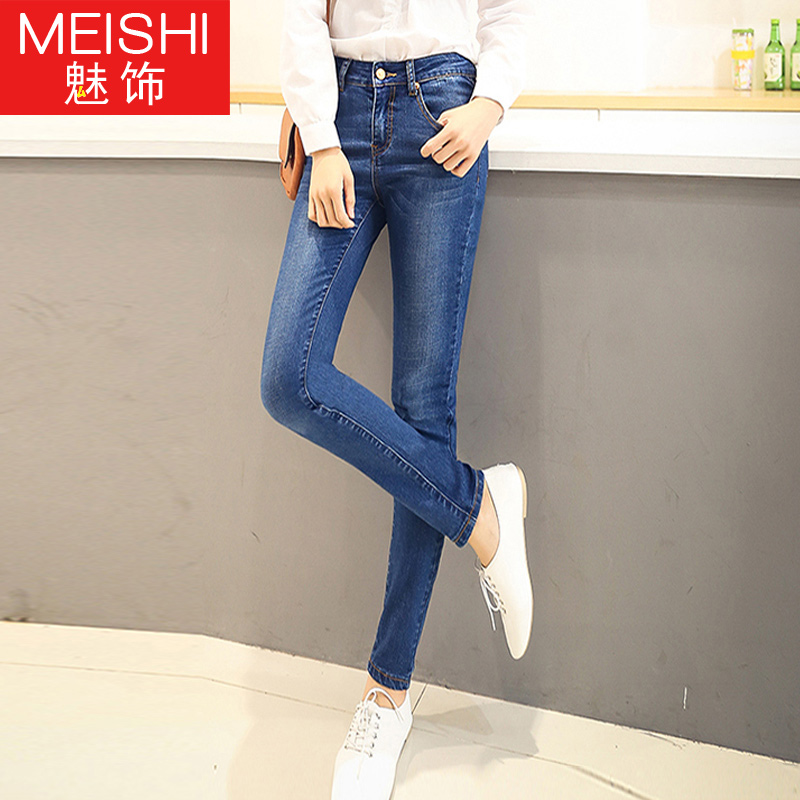 Adolescent female junior high school students in 2016 adolescent girls jeans korean version of the slim was thin denim trousers feet tide