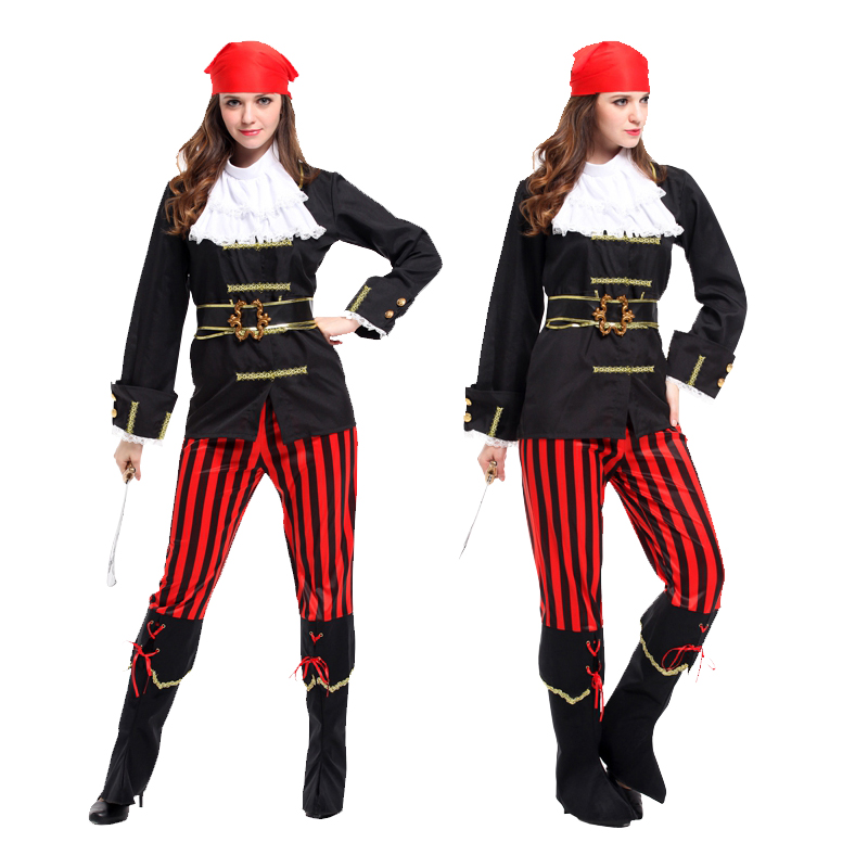 Adult female pirate halloween costume masquerade cos pirate dress up pirate adult red scarf female captain