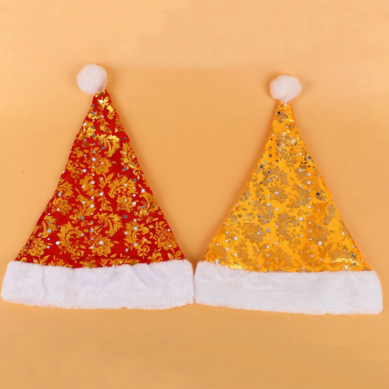 Adults children dress up for christmas golden printing upscale plush christmas hats red christmas hats christmas hats