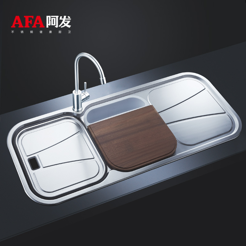Afa fat 304 thick stainless steel kitchen sink dual slot kitchen sink drain and dishwashing sink lengthen AF-1211
