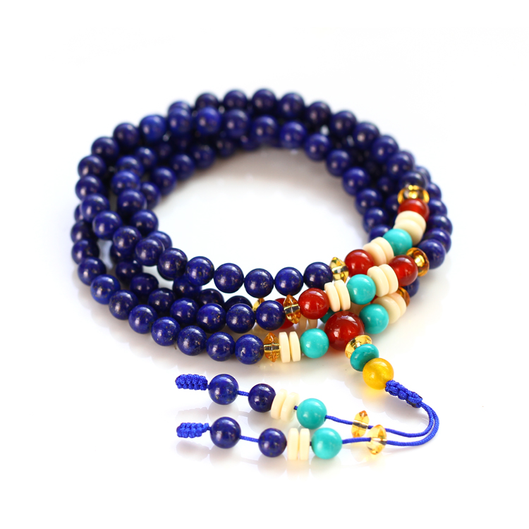 Afghan monarch natural lapis lazuli bracelet 108 prayer beads bracelet multiturn lapis lazuli bracelet gift