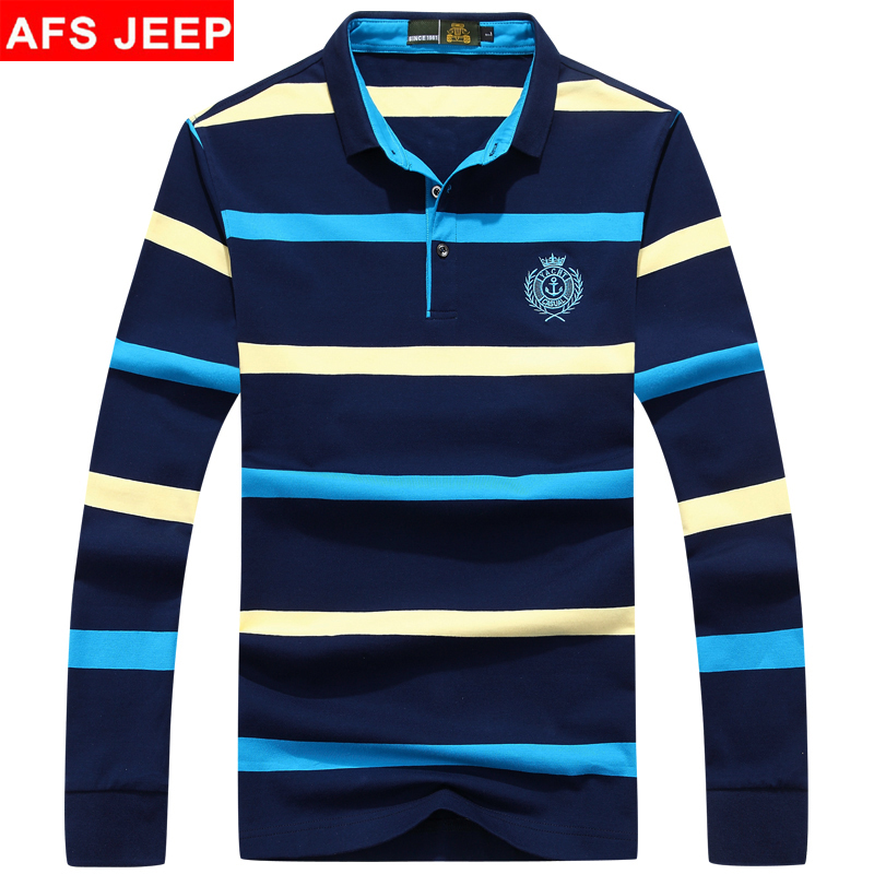 Afs jeep/battlefield jeep male striped t-shirt lapel short sleeve t-shirt long sleeve t-shirt cotton children's clothing autumn new leisure