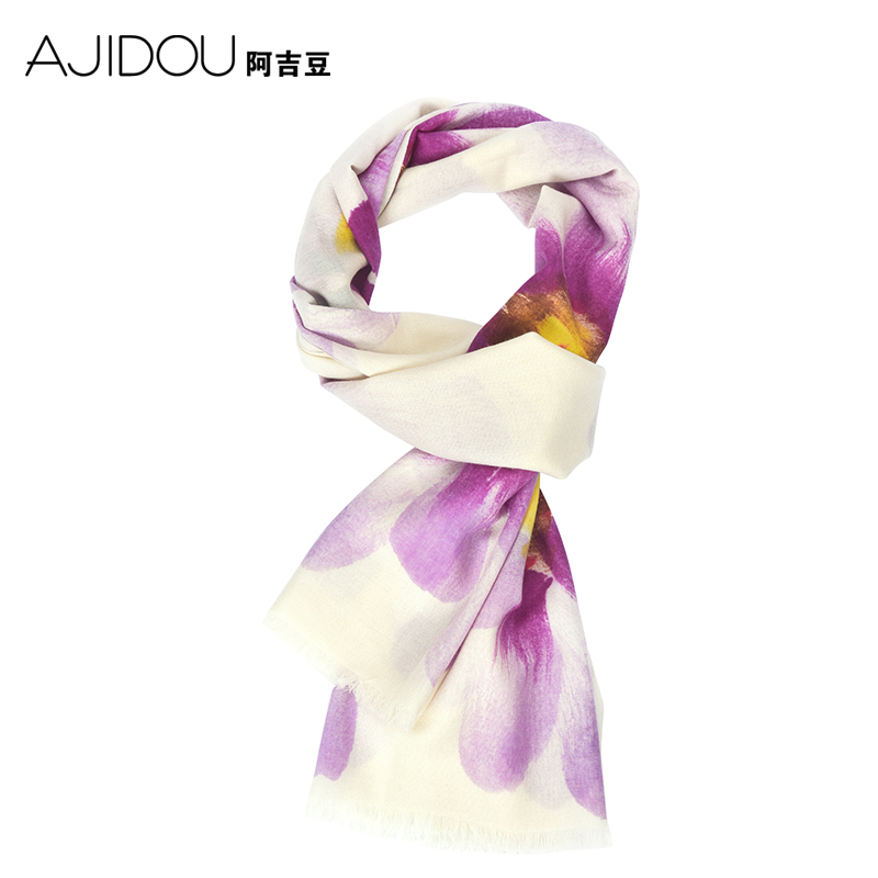 Aguilar beans purple romantic pastoral style spring and autumn and winter scarves printed scarves scarf shawl scarves dual