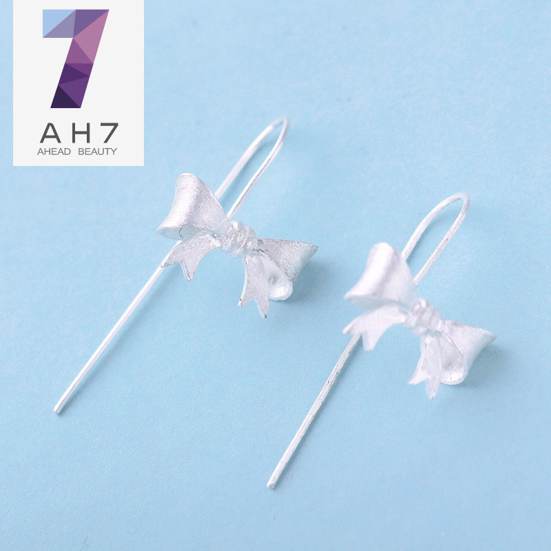 Ah7 bow handmade silver s925 silver ear wire earrings female models korean version of sweet girls long paragraph ear jewelry gift