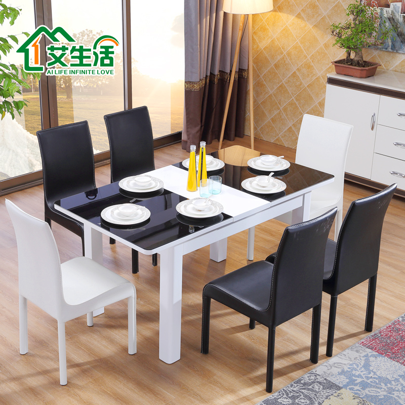 Ai life table retractable glass dining table dining tables and chairs living room dining table minimalist modern dining table