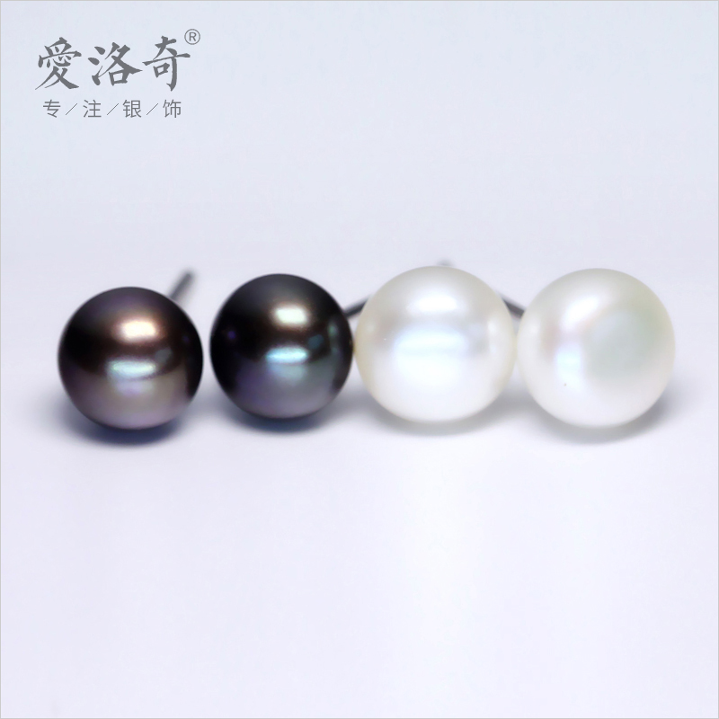 Ai luoqi silver oval white natural freshwater pearl earrings 925 silver earrings female silver jewelry e009