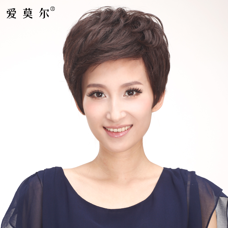 Ai moer full hand woven hair real hair real hair wigs real hair wig short hair wig fashion fluffy curls free shipping female