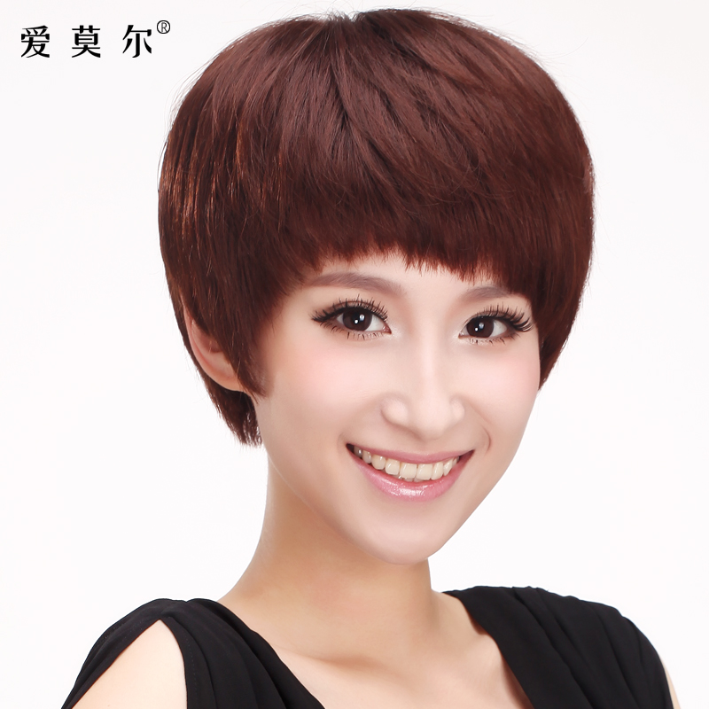 Ai moer knitted fashion wigs real hair wig short hair female short straight hair real hair wigs real hair wig sets of female