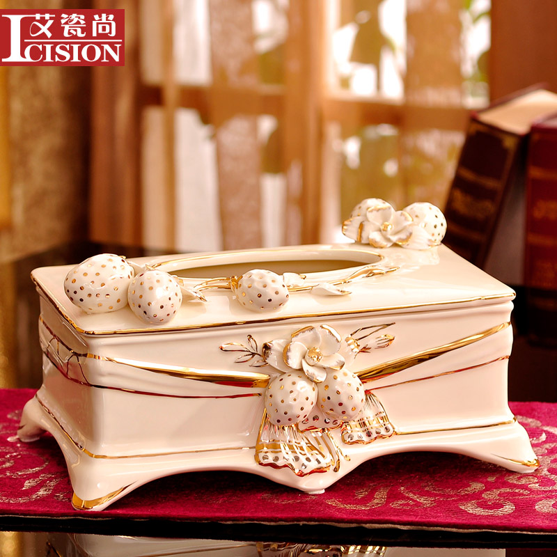 Ai shang porcelain european luxury ceramic tissue box pumping tray creative home home home accessories gifts
