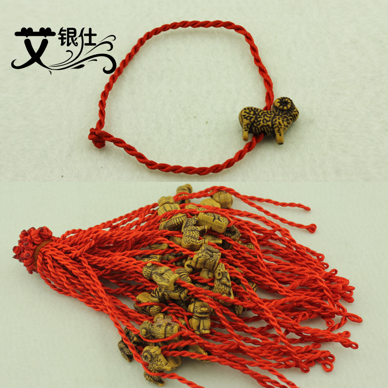 Ai yinshi 12 zodiac handmade knitting red string bracelet natal red string anklet bracelet small jewelry street vendor goods sources