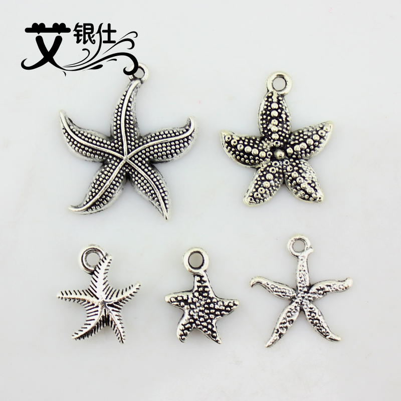 Ai yinshi diy ancient silver jewelry accessories direct torus spacer beads sub imitation tibetan silver starfish pendant necklace hand