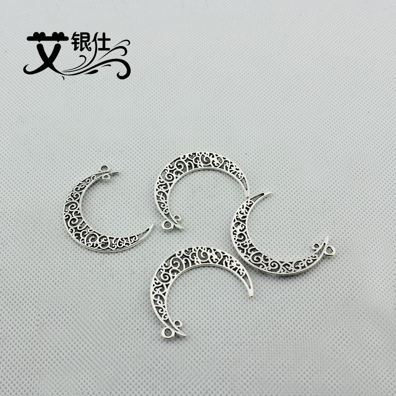 Ai yinshi diy beaded alloy material retro alloy jewelry accessories ancient silver hollow flower big moon