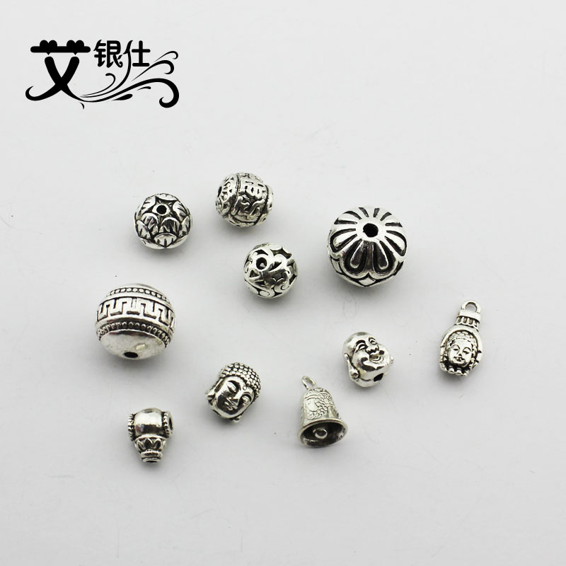 Ai yinshi diy jewelry accessories imitation tibetan silver jewelry accessories loose beads beaded material ancient silver beads separated beads tee
