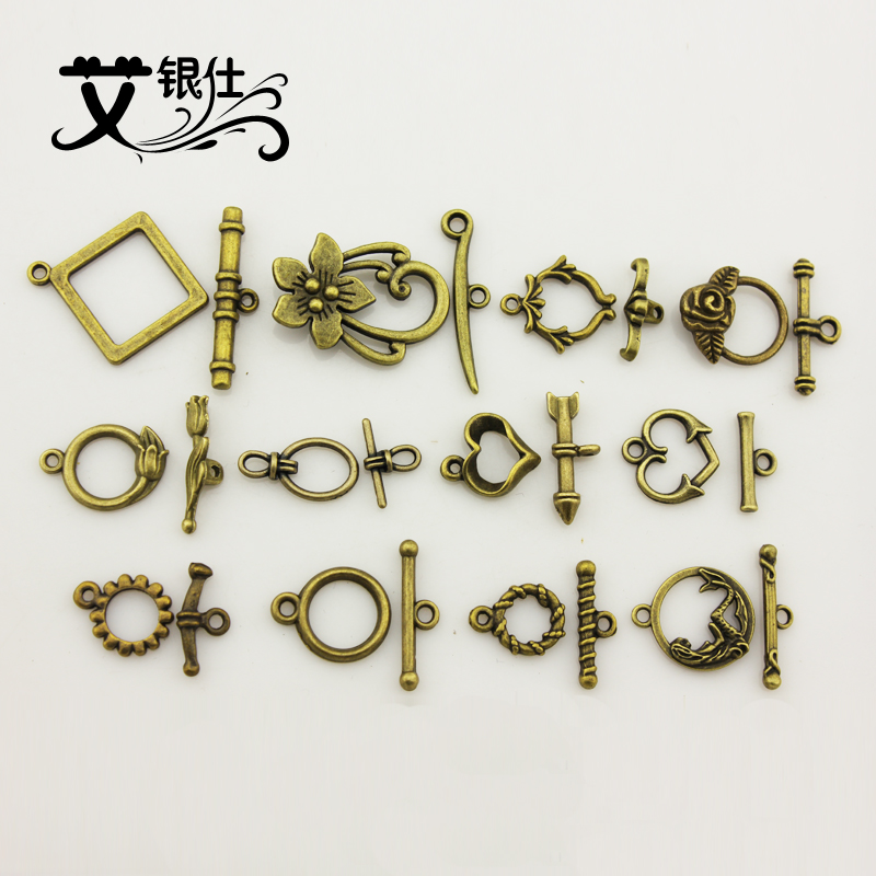 Ai yinshi diy jewelry accessories material retro jewelry factory direct copper ot buckle bracelet necklace with buckle alloy fittings