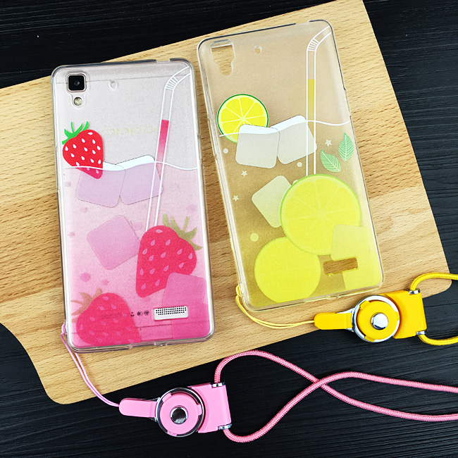 Aimos fruit drinks r7 r9 plus phone shell mobile phone shell oppo/s R7PLUS lanyard whole package protective sleeve female tide
