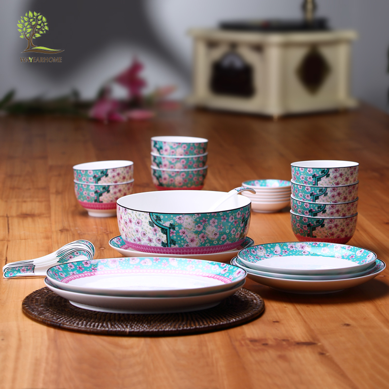 Albert household ceramic bone china tableware suit crockery dish upscale chinese traditional elegance household promotional gifts