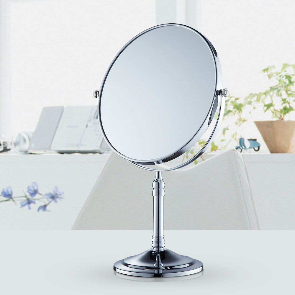 All copper antique beauty mirror desktop makeup mirror can be rotated sided magnifying mirror bathroom mirror plating gold