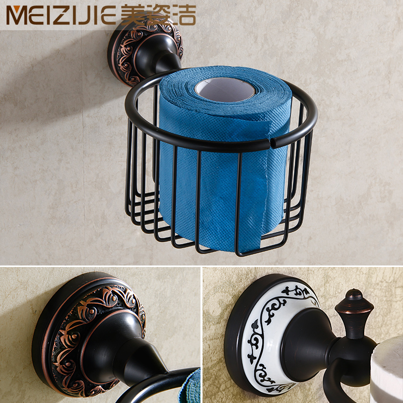 All copper continental antique black bronze towel basket towel basket towel rack toilet paper holder paper roll holder toilet tissue box of toilet paper box