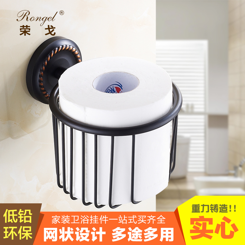 All copper dustbin dustbin towel basket black rong ge archaized grade ceramic cup double cup holder bathroom accessories
