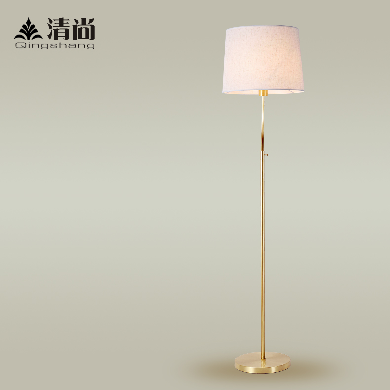 All copper floor lamp floor lamp american living room atmosphere yet clear verticle cloth and warm modern minimalist bedroom study