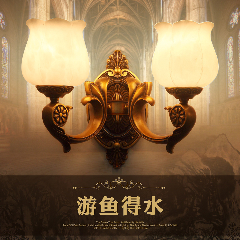 All copper marble wall lamp wall lamp end european living room hotel tv wall bedroom bedside lighting aisle stairwell lighting
