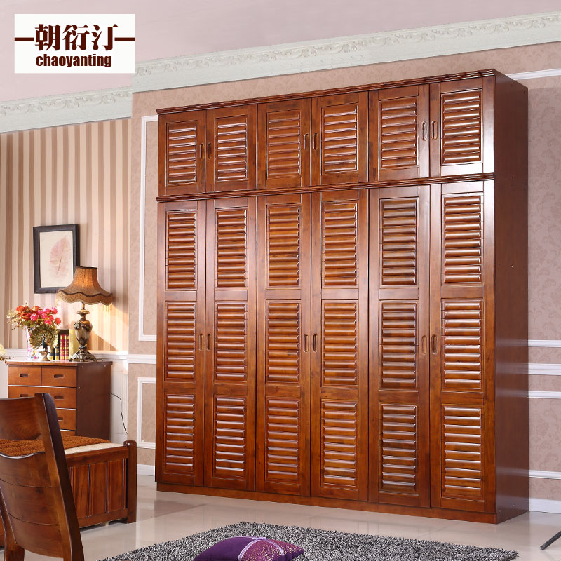 All solid wood wardrobe closet 2.4 m pure camphor wood wardrobe with top cabinet modern chinese six door 6 door wardrobe assembly