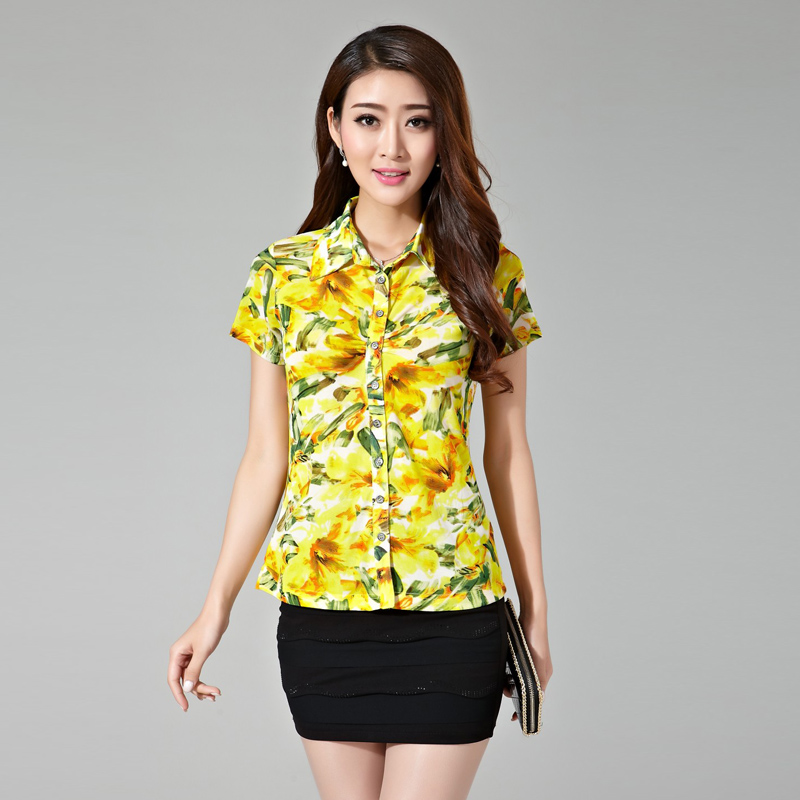 Amass 2016 summer new ms. printing slim stretch mesh shirt female big yards short sleeve shirt double
