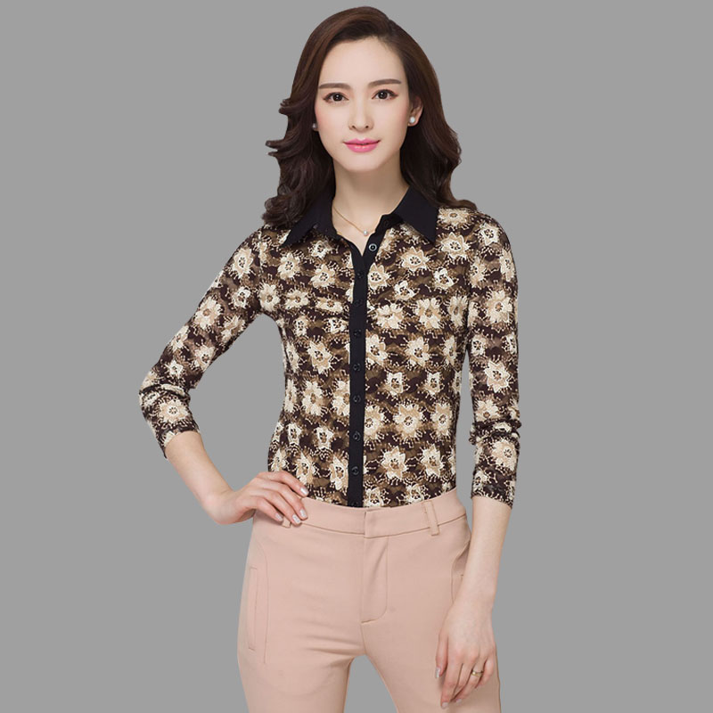 Amass ms. printing shirt female 2016 women's long sleeve shirt gauze shirt bottoming shirt floral