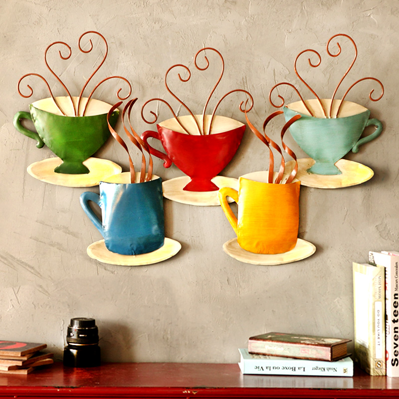 American coffee cup creative wrought iron wall murals retro metal painting decorative painting bar tea shop wall decoration